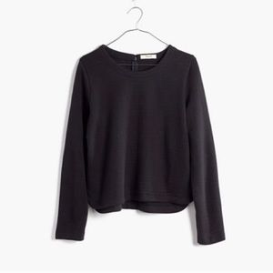 Madewell | Jacquard Grid Black Top Long Sleeve